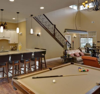 Pool table in a clubhouse