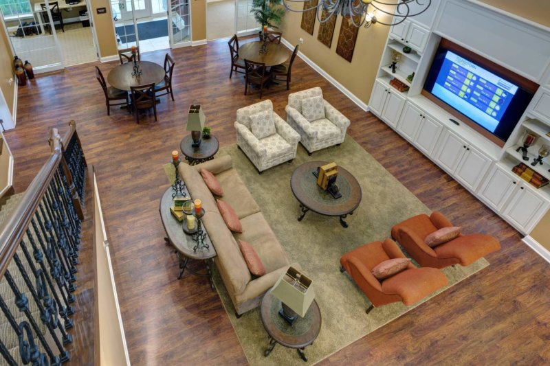 French Mill Apartments Clubhouse from Birds Eye View