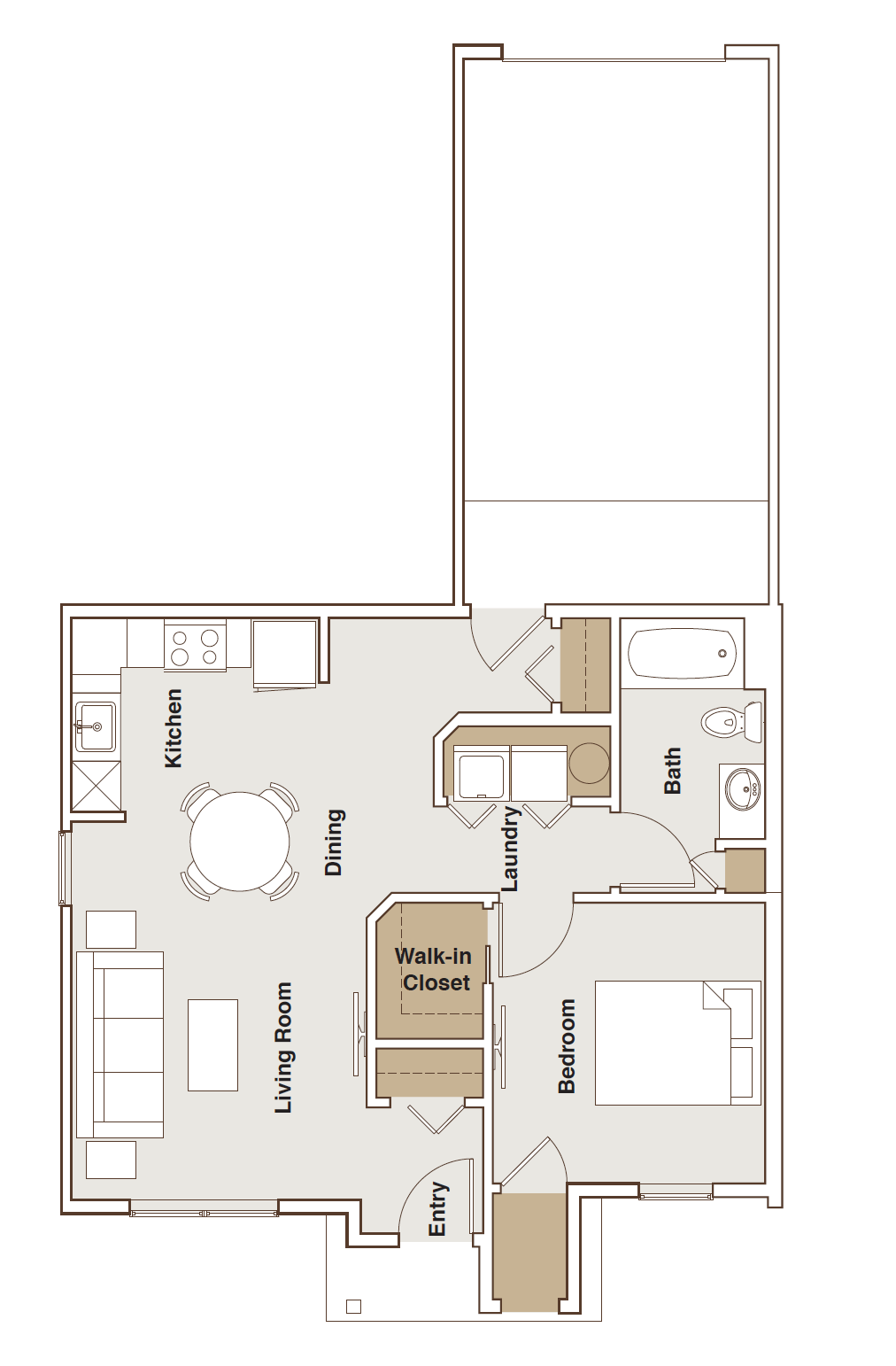 French Mill Apartments 1 Bedroom with garage Floorplan