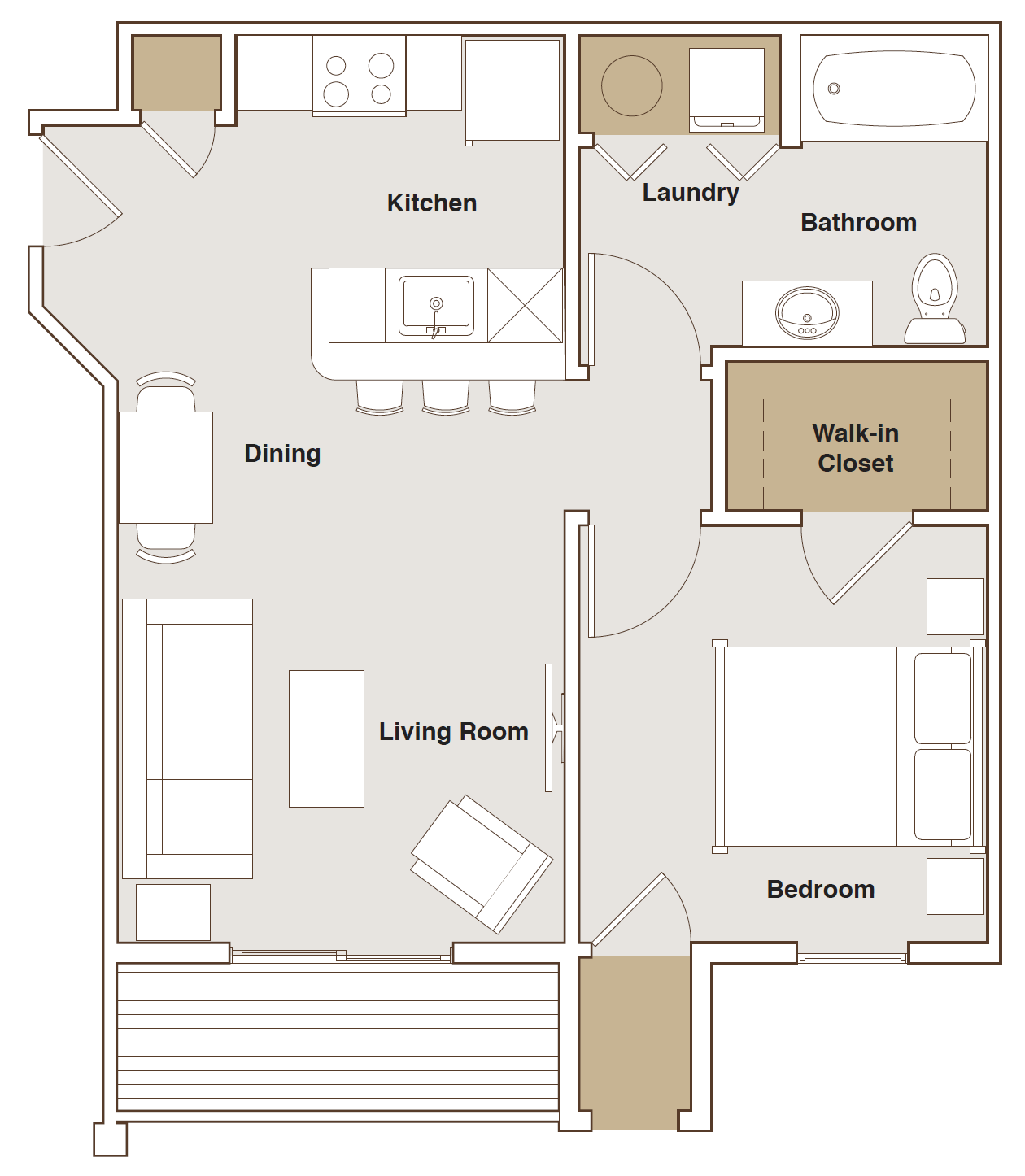 French Mill Apartments 1 Bedroom B Floorplan
