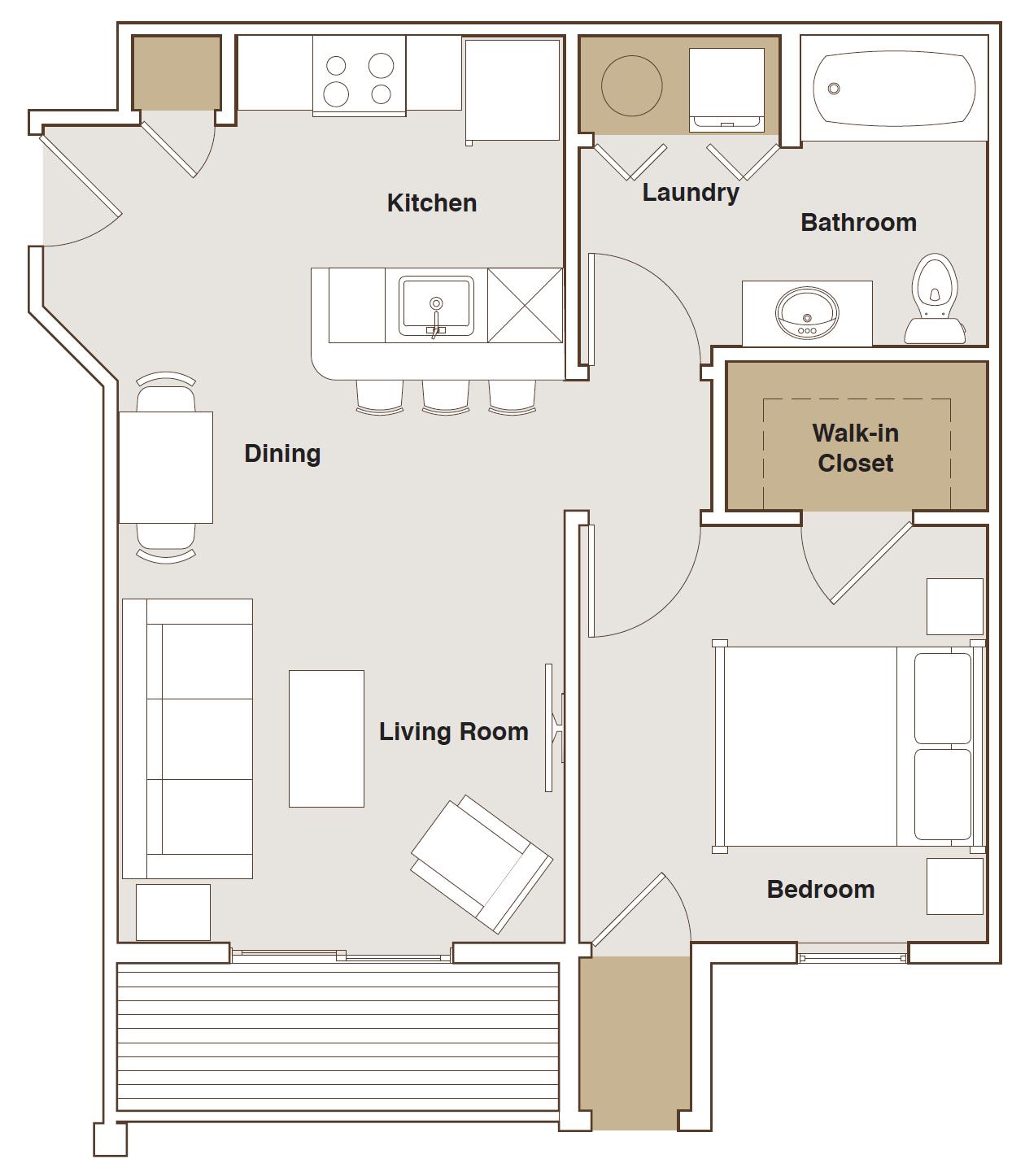 French Mill Apartments 1 Bedroom B Floorplan