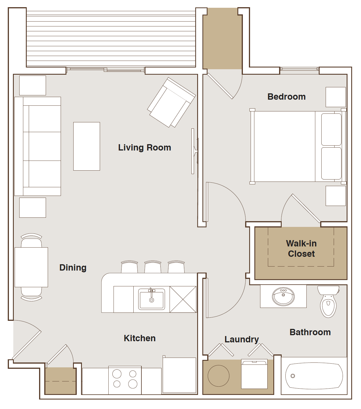 French Mill Apartments 1 Bedroom A Floorplan