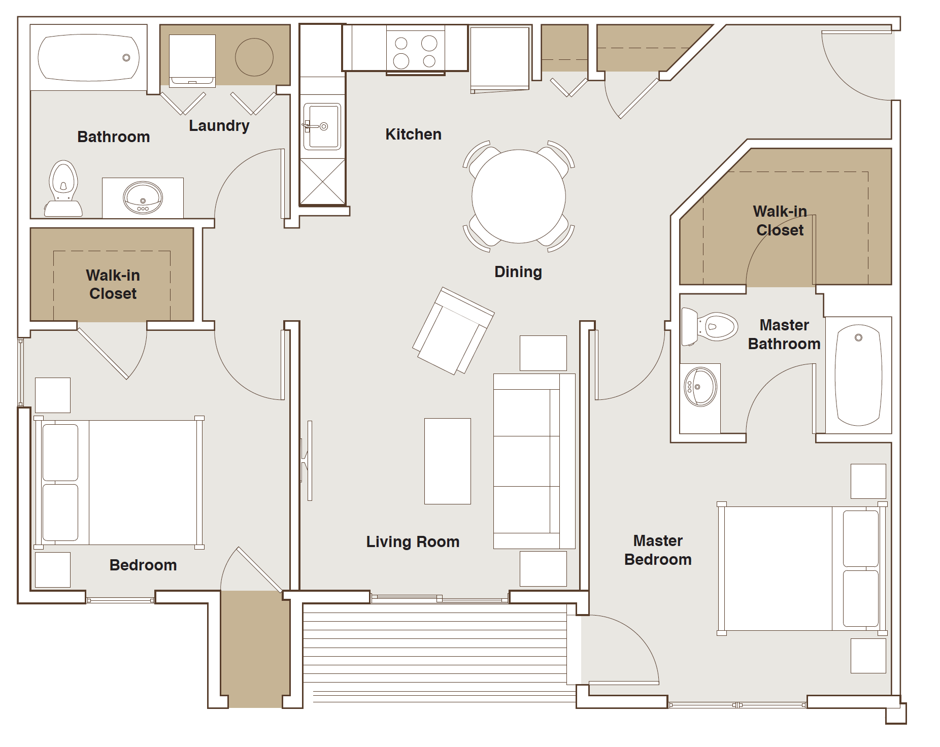 French Mill Apartments 2 Bedroom A Floorplan