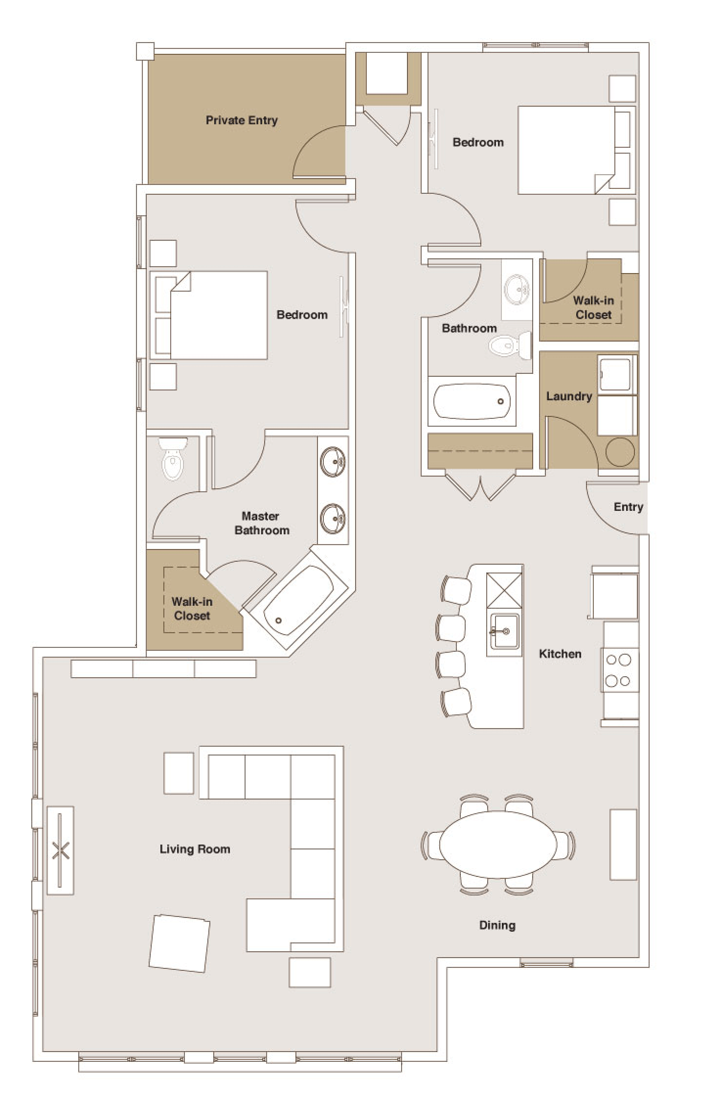 French Mill Apartments 2 Bedroom Deluxe Floorplan